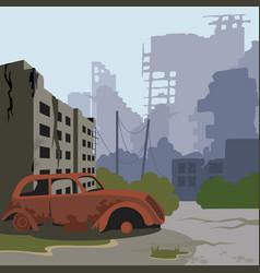 Cartoon color ruined city landscape background vector