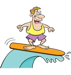 Cartoon smiling man surfing vector