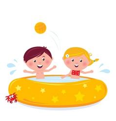 Cartooon kids in pool vector