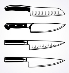 Chefs knife outline set vector