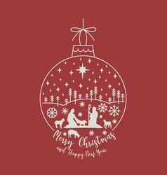 Christmas cribe scene on ball vector