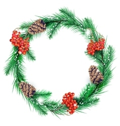 Christmas wreath in color vector image