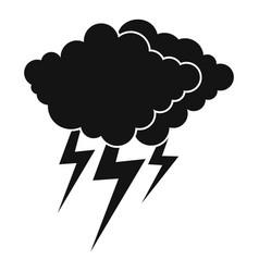 Cloud thunder flash icon simple black style vector