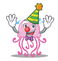 Clown cute jellyfish character cartoon vector