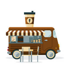coffee truck with cup drink on top street meal vector image