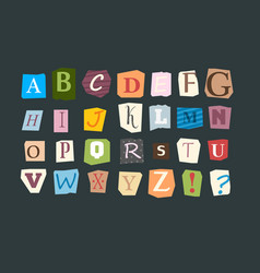 collage alphabet sliced letters various funny vector image