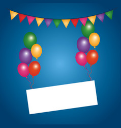 Colored flying balloons empty board pennant vector
