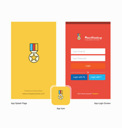 Company medal splash screen and login page design vector