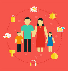 Concept family with icons lifestyle young couple vector
