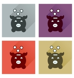 Concept of flat icons with long shadow piggy bank vector
