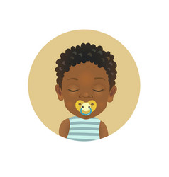 Cute afro american child sleeping with a soother vector