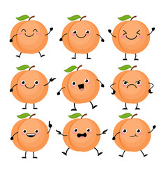 cute peach characters set with different emition vector image