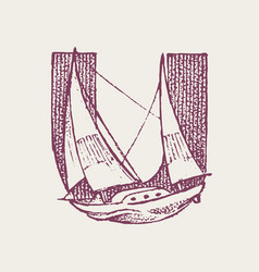 Decorative capital letter u marine ancient style vector