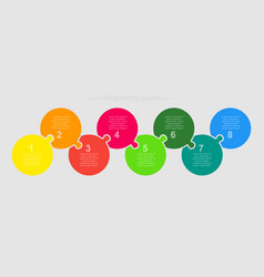 eight step part pieces puzzle circles infographic vector image