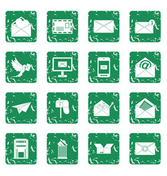 email icons set grunge vector image