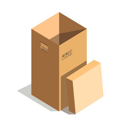 Empty high cardboard box vector