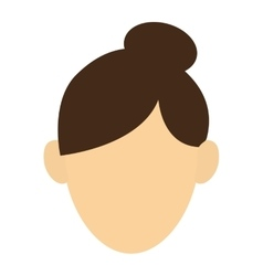 Faceless woman with high bun portrait icon vector