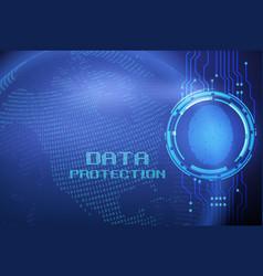 Fingerprint and data protection on digital screen vector