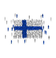 finland state flag formed by crowd of cartoon vector image