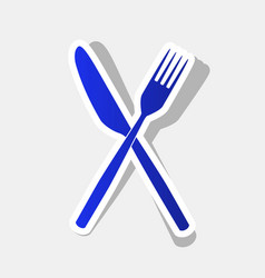 Fork and knife sign new year bluish icon vector