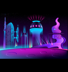 Futuristic city on other planet megapolis vector