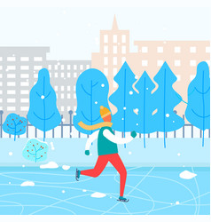 Guy skating on rink in city park winter holidays vector