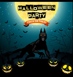 halloween background with wolf and pumpkins vector image