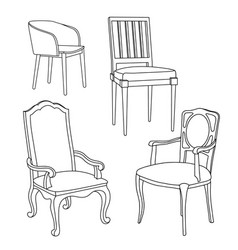 hand-drawn isolated black and white armchairs and vector image