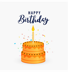 happy birthday cake with candle celebration vector image