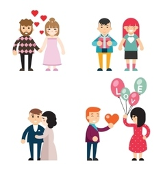 Happy couples in love Valentine Day men and women vector image