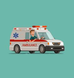 Happy medic goes on car ambulance service vector