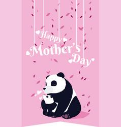 happy mothers day panda cartoon vector image