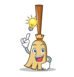 have an idea broom character cartoon style vector image