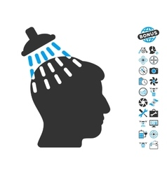 Head Shower Icon With Copter Tools Bonus vector image