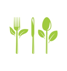 Healthy Food Icon with Cutlery and Leaves vector