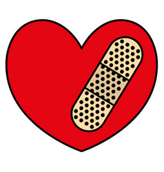heart cardio with cure bandage vector image