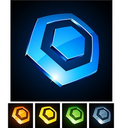 Hexagonal vibrant emblems vector