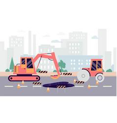 Highway hole repair roadwork banner - industrial vector