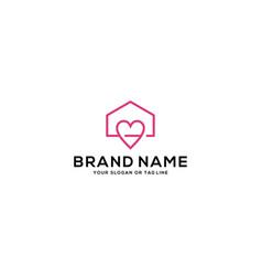 Home and heart logo design vector