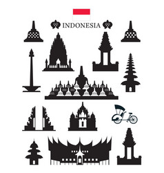 Indonesia landmarks architecture building object vector