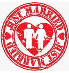 just married stamp vector image
