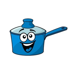 Laughing happy blue cartoon cooking saucepan vector