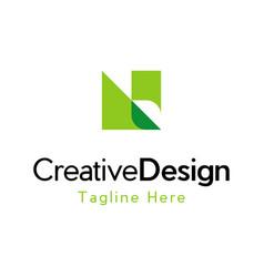 letter n leaf creative business logo vector image