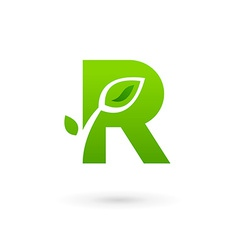Letter r eco leaves logo icon design template vector