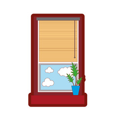 Line color window with curtain blind open and vector