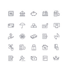 Line icons set banking pack batch vector