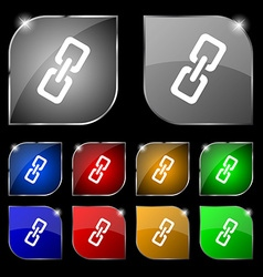 link icon sign Set of ten colorful buttons with vector image vector image
