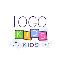 Logo kids creative concept template hand drawn vector