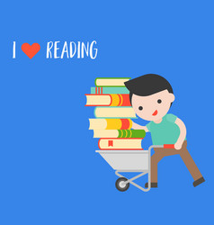man carry a pile of book with cart world book day vector image