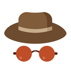 man detective hat and glasses vector image